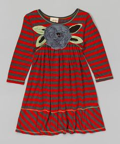 Loving this Charcoal & Red Stripe Dress - Toddler & Girls on #zulily! #zulilyfinds