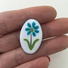 Floral Enamel on Copper Pin Brooch Flower Turquoise by ravished