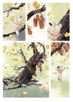 comic book layout, beautiful illustrations, tiling.