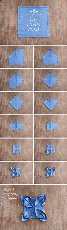 Lotus Napkin Folding Step By Step