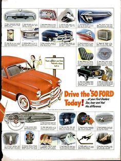 50 ways 50 American Classic Cars, Ford Classic Cars, Car Ford, Ford Trucks, Ad Car, Old Fords, Retro Advertising, Ford Motor Company, Vintage Ads