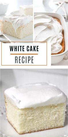 White Cake Recipe is a Mother's Day food idea! With only 8 ingredients, you can create a special treat for your mom in just under and hour. Your next go-to recipe for a delicate dessert with a whipped buttercream frosting! Save this and try it! Delicious Cake Recipes, Easy Cake Recipes, Yummy Cakes, Baking Recipes, Dessert Recipes, Wasc Cake Recipe Variations, Frosting Recipes, Recipes For Sweets, White Cake Recipes