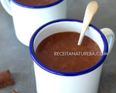Chocolate Quente Saudável Beneficios Do Kefir, Frutas Low Carb, Acerola, Chocolate Fondue, Chili, Soup, Pudding, Tableware, Desserts