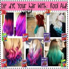 """Dip Dye your hair with:Kool Aid"" by nialls-princess13 on Polyvore"