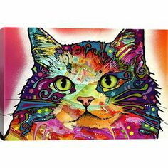 An eye-catching addition to your living room or master suite, this vibrant canvas print showcases a cat in a bold, street art-inspired palette.    Product: Wall artConstruction Material: Canvas and pine woodFeatures: Reproduction of original artwork by Dean Russo   Made in the USAReady to hang