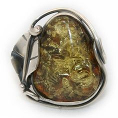 Green Baltic Amber Ring by BalticAmbercom on Etsy, $49.99