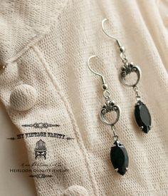 Call of the Raven Swarvoski Jet Black Earrings by MyVintageVanity, $25.00