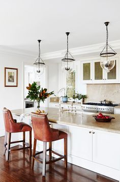 An entertainers' kitchen from a French-provincial meets Hamptons style home in Sydney's Eastern Suburbs. Photo: John Paul Urizar | Styling: Kayla Gex | Story: Australian House & Garden