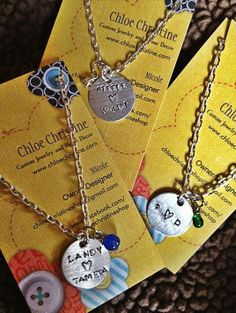 These hand-stamped Dainty Charm Necklaces ($12 each) are a great way to give a beautiful personalized gift.