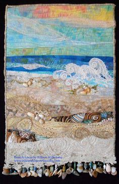 Beach Lace. Fiber art quilt made using some antique lace, by Eileen Williams.
