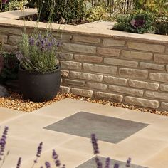 Sandstone Cream Double-sided 285 Piece Mixed size Walling pack - B&Q for all your home and garden supplies and advice on all the latest DIY trends Sandstone Wall, Sandstone Paving, Garden Tiles, Garden Paving, Patio Stairs, Patio Wall, Concrete Paving Slabs, Paved Patio, Unique Gardens