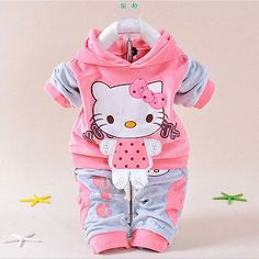 Baby Girl's Hello Kitty clothing sets velvet Sport suits hoody jackets+pants