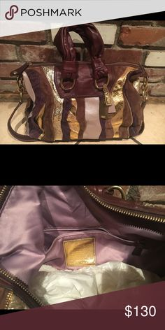 """Authenticate Coach Leather Tote with Strap Gently worn. Approx. 10""""H  x 14""""W x 5""""D. Strap approx 34"""" long, non adustable, non removable.  Brown learher with gold/lavendar patches. Lavendar interior with zip pocket and cell phone pockets. Coach Bags Totes"""