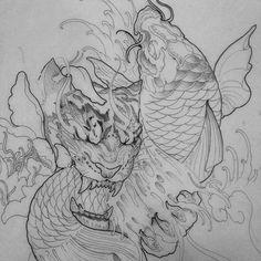 """Tiger vs koi fish @chronicink #tiger #koi #fish #fingerwaves #asianart #asianink #orientalink #orientaltattoo #torontotattoo #tattoo #artist_community #artwork #prismacolor #copic #micron #potn #potd #draw #sketch"" Photo taken by @truong87 on Instagram, pinned via the InstaPin iOS App! http://www.instapinapp.com (04/15/2015)"