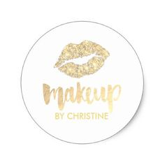 golden lips makeup calligraphy classic round sticker - craft supplies diy custom design supply special