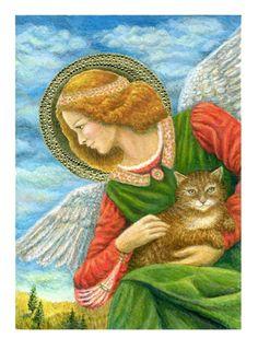 Guardian angel cat kitten goes to Heaven Moosup giclee print
