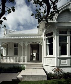 I think it could use a little color...but still...so awesome. NZ White Exterior Federation house