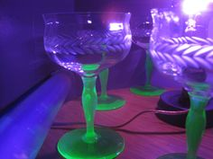 Green Stem Depression Water Wine Goblets~Uranium Vaseline~Etched~Tiffin?*Unique!