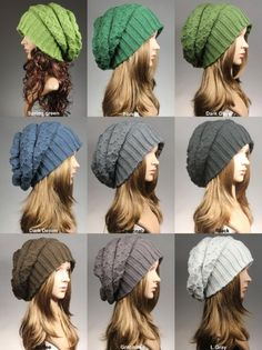 Womens Hat Knit hatCable knit hatSlouchy HatGreen by GoKnitsDotCom