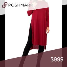 Coming soon! Red Side Slit Tunic Dress Sashay into casual chic in this long-sleeve Tunic that offers dramatic slits at the side & a hint of stretch for all day comfort!  Would look awesome with a long necklace!  58% polyester 37% Rayon 5% Spandex. Machine wash. Fits medium (6-8). Dresses