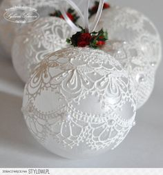 Make the most beautifully handmade Christmas lace ornaments for a more nostalgic note in the home's Christmas decorations during the holidays. Christmas Ornaments To Make, Homemade Christmas, Christmas Holidays, Victorian Christmas Ornaments, Christmas Vacation, Christmas Bells, Lace Christmas Tree, Glass Christmas Tree Ornaments, Christmas Candle