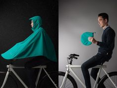 The Boncho is a unique, ultra breathable bike poncho that protects you in the rain while riding your bike. This brilliant poncho not only promises to keep the rider completely dry, but also the bike when out in the rain. Biking In The Rain, Bici Retro, Bike Gadgets, Radler, Rain Poncho, Commuter Bike, Bike Rider, Wet Weather, Bike Accessories