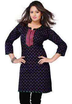 Fabdeal Indian Designer Wear Black & Purple Printed With Embroidered Neck Line Kurti-XXX-Large Fabdeal,http://www.amazon.com/dp/B00HWSBMPA/ref=cm_sw_r_pi_dp_rpJptb1FM6NH4X03