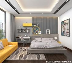 Teen-Boy-Can-Teen-Boy-Can-Phong-Phong - Ceiling design Simple Bedroom Design, Home Room Design, Master Bedroom Design, Ceiling Design Living Room, Bedroom False Ceiling Design, Living Room Designs, False Ceiling Ideas, Fall Ceiling Designs Bedroom, Hotel Inspired Bedroom