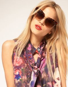 ASOS Cat Eye Sunglasses With Contrast Highbrow l wantering.com