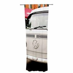 "Angie Turner ""VW Bus"" White Vintage Decorative Sheer Curtain"