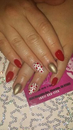 Polka dots almond shape nails