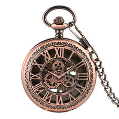 Vintage Rose Gold Roman Numbers Gear Wheel Display Mechancial Fob Pocket Watch R. - Vintage Rose Gold Roman Numbers Gear Wheel Display Mechancial Fob Pocket Watch Retro Clock Gift for -