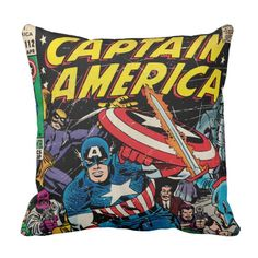 Check out this classic Captain America comic book cover for issue number This comic cover features Captain America fighting off several villains, such as Red Skull. Size: Throw Pillow x Gender: unisex. Custom Pillows, Decorative Throw Pillows, Captain America Comic Books, Book Pillow, Pillow Talk, Ipad Sleeve, Blue Bonnets, Comic Character, Character Design