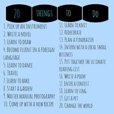 Twenty things to do when you don't know what to do.  This is especially great for the elderly or those in the hospital with too much free time - most of these can be done in bed!