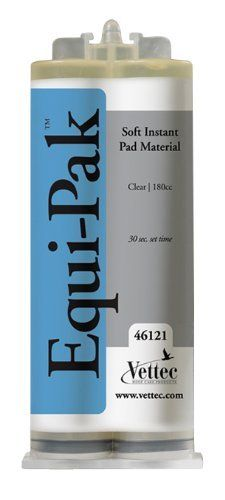 Equi-Pak Hoof Packing - 180 cc Clear by Vettec Hoof Care. $26.95. A revolutionary, soft, instant pad material dispensed onto the frog and sole to protect, support, and provide comfort to horses with sore feet. Gels in 30 seconds, sticks directly to the sole, and stays in place for six weeks. Requires dispensing gun and mixing tips. Manufacturer Part Numbers: 46121