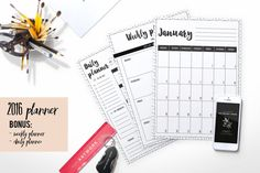 2016 planner inkdot background  weekly planner  by ChicTemplates