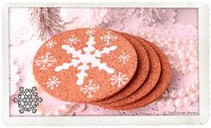 simple stenciled snowflake coasters