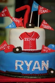 Texas Rangers birthday  cake!  Perfect baseball party!
