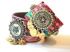 Bohemian hippie jewelry - friendship bracelet cuff in pink and turquoise - statement jewelry - gypsy style charm bracelet