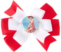 LITTLE LILY PINUP HAIR BOW RED/WHT $7.00 #hair #hairaccessories #accessories #bow #hairbow #pinup