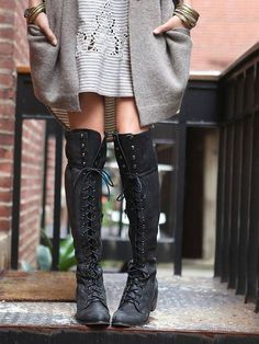 Jeffrey Campbell for Free People Joe Lace Up Boot These are the perfect cold weather statement piece! Over the knee with laces and a slight wedge heel. Color is dark grayish black. Free People Shoes Lace Up Boots Looks Style, Looks Cool, My Style, Tall Boots, Shoe Boots, High Boots, Black Boots, Women's Shoes, Dress Boots