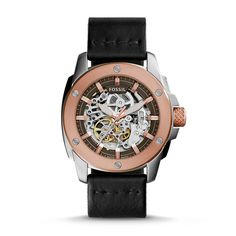 Modern Machine Automatic Black Leather Watch - Fossil