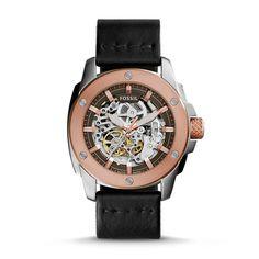 Modern Machine Automatic Black Leather Watch - Fossil