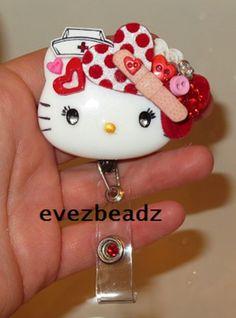Lots of Love Nurse Hello Kitty Id Badge Retractable Reel Holder  | EvezBeadz.artfire.com/ on SALE