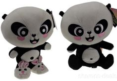 "Gund 9"" Lil Panda Lot 2 Warm Fuzzy Seated Plush Soft Toy Doll Bunny Slippers NEW"