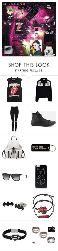 """""""Micheal"""" by agitae on Polyvore featuring Topshop, Converse, Steve Madden, Various Projects, Ray-Ban, Marvel and DC Comics"""