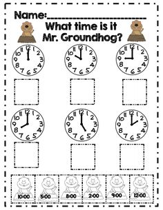 What time is it Mr. Groundhog? part of 20 page 1st grade math packet common core aligned!