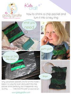 Shrinking chip packets - an easy brilliant craft idea for kids #giddygiraffe