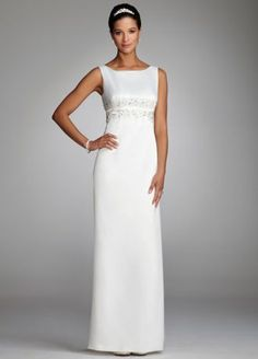 The epitome of classic elegance, this satin A-line is timeless!  Sophisticated bateau neckline offers coverage and support.  Empire waist is adorned with beautiful floral beaded applique detail.  A-line silhouette slims and flatters any figure.  Fully lined. Invisible back zipper. Imported polyester. Dry clean only.  Available in Ivory online only.  To protect your dress, try our Non Woven Garment Bag.