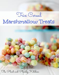 """Trix Cereal Marshmallow Treats Oh just make sure that you keep these away from the Easter Bunny. """"Silly rabbit Trix are for Kids"""" and Adults! Trix Cereal, Cereal Treats, Cereal Bars, Rice Crispy Treats, Krispie Treats, Yummy Treats, Sweet Treats, Sweet Recipes, Snack Recipes"""